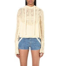 Free People Sweet Tooth Open Knit Hoody Ivory