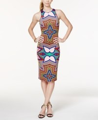 Xoxo Juniors' Printed Bodycon Midi Scuba Dress