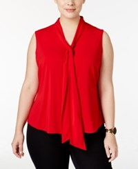 Calvin Klein Plus Size Tie Neck Blouse Red