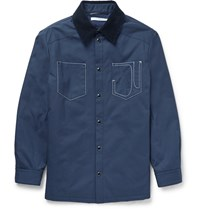 Givenchy Corduroy Collar Cotton Canvas Jacket Blue