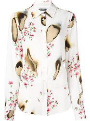 Moschino Burned Effect Floral Shirt White