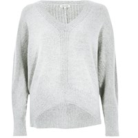 River Island Womens Grey Ribbed Panel Batwing Jumper