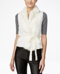 Xoxo Juniors' Faux Fur Trim Belted Vest Ivory