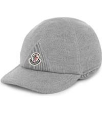 Moncler Logo Cotton And Wool Cap Grey