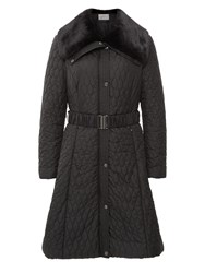 Kaliko Long Full Skirted Nylon Coat Black