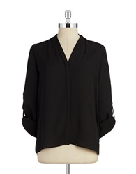 T Tahari Button Front Blouse Black
