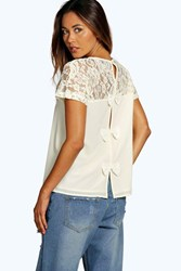 Boohoo Lace Yoke Bow Back Woven Shell Top Cream