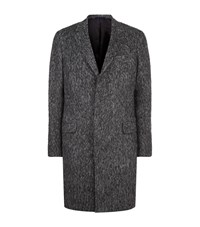 Lanvin Alpaca Blend Herringbone Coat Male Dark Grey