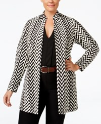Jm Collection Plus Size Chevron Open Front Jacket Only At Macy's Chevron Peaks