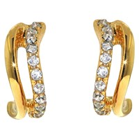 Finesse Swarovski Crystal Wave Stud Earrings Gold