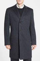 Men's Big And Tall John W. Nordstrom 'Clifton' Plaid Cashmere Overcoat Charcoal Black
