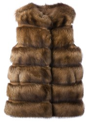 Liska Fur Gilet Brown