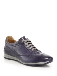 Saks Fifth Avenue Perforated Leather Sneakers Blue