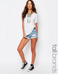 Noisy May Tall Ripped Denim Shorts Blue