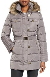 Michael Michael Kors Women's Faux Fur Trim Belted Down And Feather Fill Coat Flannel