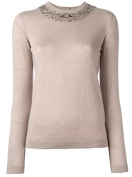 Ralph Lauren Purple Embellished Neck Knit Blouse Nude And Neutrals