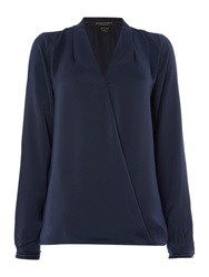 Maison Scotch Long Sleeve Front Crossover Top Black