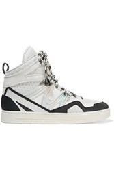 Marc By Marc Jacobs Paneled Leather And Mesh High Top Sneakers White