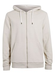 Topman Long Sleeve Zip Through Hoodie Stone