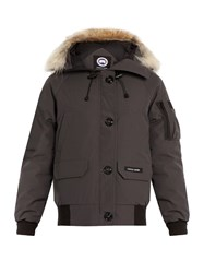 Canada Goose Chilliwack Fur Trimmed Down Bomber Jacket Dark Grey