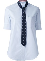 Thom Browne Neck Tie Shirt With Rain Clouds And Umbrella Blue