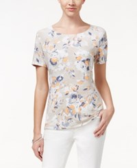 Jm Collection Textured Tee Floral Print Apricot Bright White