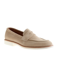 J.Crew Kenton Suede Penny Loafers With White Sole Sandstone