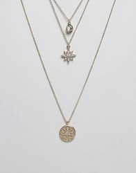 Oasis Star Filigree Stacking Necklaces Gold