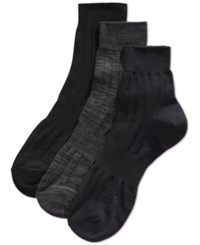 Perry Ellis Men's Mid Crew Socks 3 Pack Dark Black Asst
