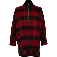 River Island Womens Red Check Zip Turtleneck Shacket
