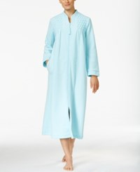 Miss Elaine Zip Front Brushed Back Terry Robe Turquoise