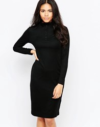 Neon Rose Midi Dress With Polo Neck And Button Detail Black