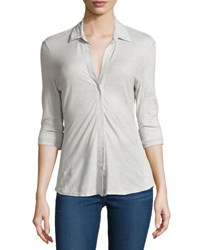 James Perse Cotton Contrast Panel Top Silver