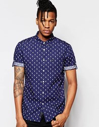Religion Print Short Sleeved Shirt With Print Blue