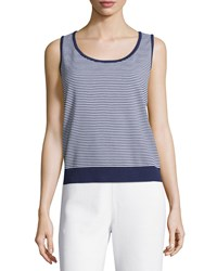 St. John Petite Striped Santana Knit Tank Bright White Ink