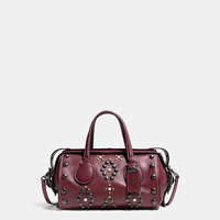 Coach Western Rivets Badlands Satchel In Glovetanned Leather Black Copper Bordeaux