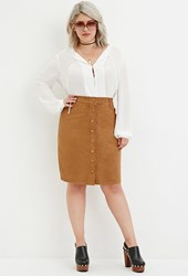 Forever 21 Plus Size Button Front Faux Suede Skirt Camel