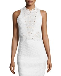 Rebecca Taylor Sleeveless Textured Lace Trim Top Snow Women's Size 6