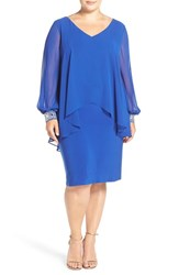 Alex Evenings Plus Size Women's Beaded V Neck Sheath Dress With Capelet Overlay Bright Royal
