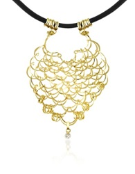 Orlando Orlandini Scintille Diamond Drop 18K Yellow Gold Net Necklace