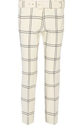 Derek Lam Cropped Printed Stretch Crepe Straight Leg Pants Ivory
