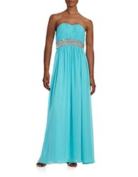 Calvin Klein Embellished Strapless Gown Manganese