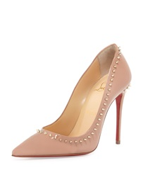 Christian Louboutin Anjalina Spike Patent Red Sole Pump Nude Golden
