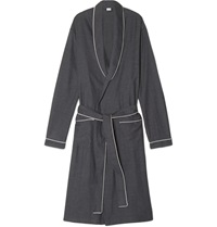 Zimmerli Herringbone Cotton Flannel Robe Gray