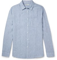 Onia Abe Striped Linen Shirt Blue