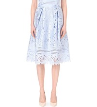 Ted Baker Lace Embroidered Midi Skirt Blue