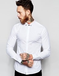 Asos Skinny Shirt With Wing Collar And Long Sleeves White