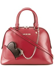 Love Moschino Heart Chain Medium Tote Red