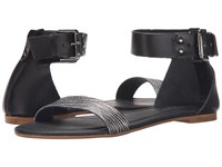 Massimo Matteo Flat Ankle Strap Nero Women's Sandals Black