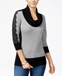 Amy Byer Bcx Juniors' Lace Sleeve Colorblocked Sweater Light Grey
